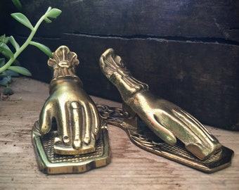 Vintage Brass Hand Desk Clip Paper Holder Victorian Hand Decor, Hand of Fatima, Letter Holder