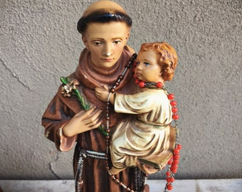 1960s Chalkware Statue Saint Anthony of Padua Patron of Stolen and Lost Items and Those Lacking Faith, Religious Altar Decor