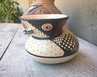 Vintage Reproduction Diaguita Pottery Bird Effigy Vessel Pitcher from La Serena Elqui Valley Chile