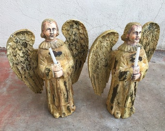 """Pair of 15"""" Winged Angel Taper Candleholders Hand Painted Composition Statue Old World Baroque Style, Religious Decorations, Christmas Decor"""