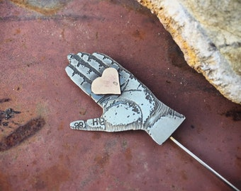 1986 Thomas Mann Hand Stick Pin Mixed Metal Steampunk Jewelry, Gift for Writer or Artist