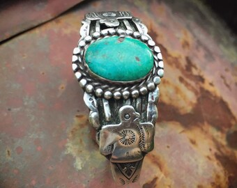 Fred Harvey Era Sterling Silver Thunderbird Turquoise Cuff Bracelet, Vintage Native American Indian Jewelry
