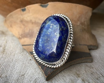 Lapis Lazuli Sterling Silver Ring for Women Men Size 10, Navajo Native American Indian Jewelry