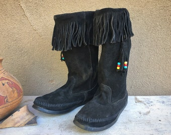 Women's Tall Moccasin Boots Black Suede Leather with Fringe Beads, Minnetonka Moccasins