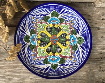 "Vintage 12"" Mexican Talavera Plate Wall Hanging, Rustic Southwestern Home Decor or Tableware"