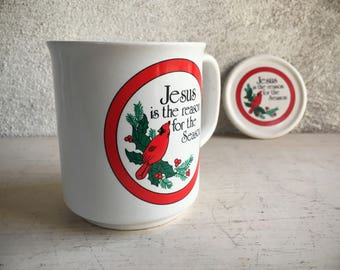 Jesus Is the Reason for the Season Christmas Mug, Coffee Mugs with Lid Cover