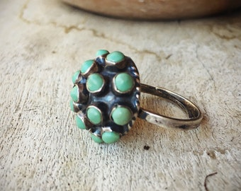 Vintage Mexican Turquoise Ring Adjustable Band, Round Turquoise Cluster Dots on Dome Taxco Jewelry