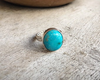 Small Round Turquoise Ring for Women or Girl Size 5.5, Southwestern Jewelry