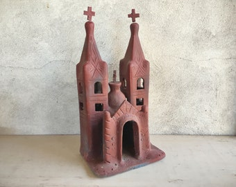 Mexican Pottery Folk Art Church, Patio Decor, Southwestern Decor, Church Art Primitive Decor