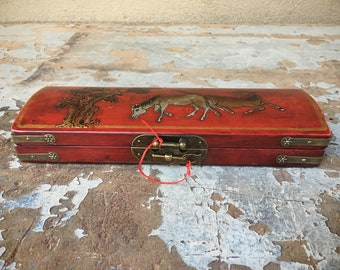 Vintage Asian Lacquered Wood Trinket Glove Box with Brass Closure Horse Decor Chinese Paper Lining