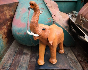 Vintage Leather Wrapped Lucky Trunk Up Elephant Statue Glass Eyes, Safari Animal Lover Gift