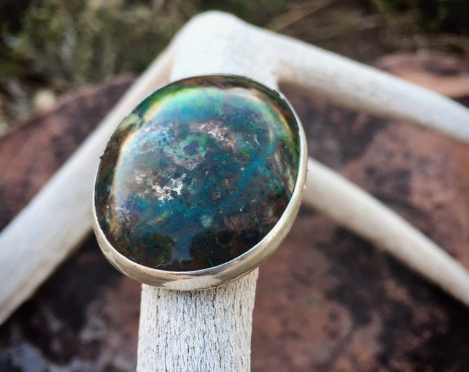 Featured listing image: 21g Large Chrysocolla Sterling Silver Ring for Women Size 8, Native American Indian Jewelry, Healing Stone, Girlfriend Gift for Water Sign