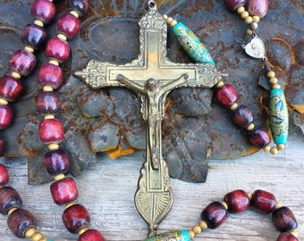 Oversized Rosary with Brass Crucifix Multi Color Wooden Beads, Religious Jewelry, Gift for Catholic