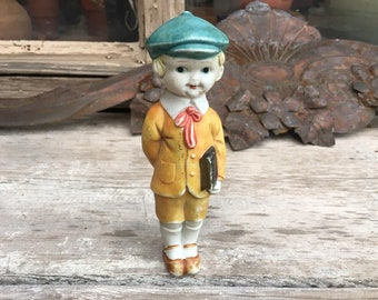 1930s Painted Bisque Figurine of School Boy with Cap Made in Japan, Frozen Charlotte Style Doll