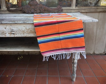 Orange Mexican Serape Table Runner or Throw, Mexican Weaving Table Cover, Woven Wall Hanging