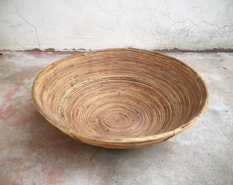 "Large 19"" Coiled Pencil Reed Bowl Basket in the Style of Gabriella Crespi, 1970s Rattan Tiki Midcentury Decor"