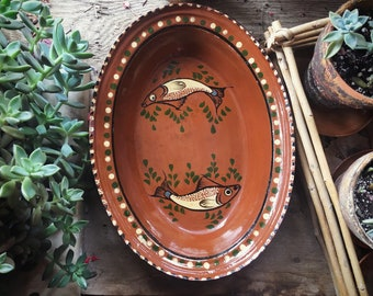Vintage Mexican Pottery Oval Dish Tlaquepaque Mexican Kitchen, Southwestern Decor