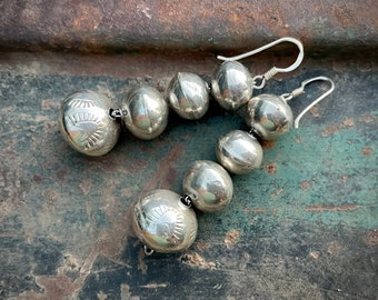 Vintage Stamped Sterling Silver Bead Earrings Southwestern Jewelry, Native America Indian Jewelry