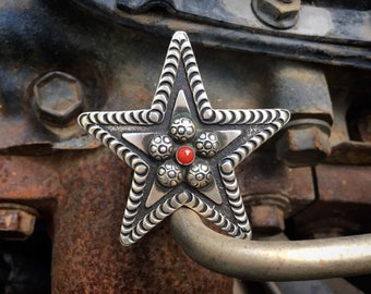 Navajo Matthew Charley Huge Stamped Sterling Silver Coral Star Ring Size 9, Vintage Native American Indian Jewelry, Southwestern Rodeo Style