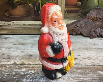 Vintage Santa Claus Statue Chalkware Money Bank Made in Mexico, Carnival or Fair Prize