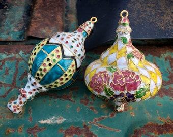 Pair of Vintage Cloisonne Finial Style Ornaments for Christmas Tree or Window Art, Enamel Metal