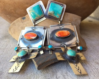 Navajo Sterling Silver Cross Earrings Turquoise Orange Spiny Oyster, Native American Indian Jewelry