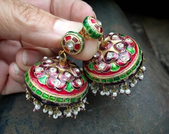 Vintage Jhumki Earrings with Victorian Style Miniature Pearl Dangles (Converted from Clip Ons)