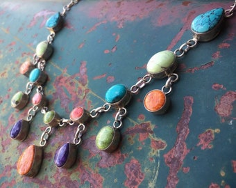 Turquoise Jewelry Colorful Multi Stone Necklace by Navajo Bea Tom, Native American Indian Jewelry