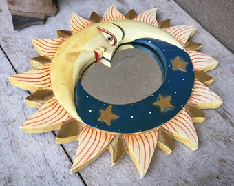 Vintage Painted Wood Sun and Moon Small Space Wall Mirror from Indonesia, Celestial Folk Art