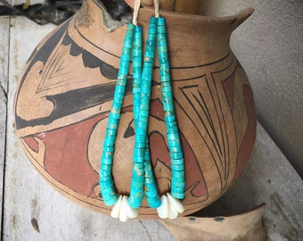 1940s Turquoise Disc Heishi with White Shell Jocla Pendant for Necklace, Santo Domingo Jacla, Native American Indian Jewelry Ceremonial