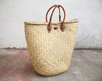 Large 1950s Woven Straw Bag with Super Distressed Leather Handles, Mexican Straw Tote Bag, Storage Basket Southwestern Primitive Home Decor
