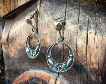 Mexican Earrings Turquoise Sterling Silver Hoops with Screw Backs, Taxco Silver Jewelry, Hoop Earrings for Non Pierced Ears, Girlfriend Gift