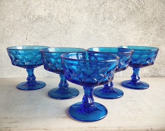 Set of Five Cobalt Blue Glass Thumbprint Dessert Dishes Goblets, Vintage Sherbert Cups Compotes