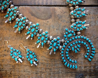 Vintage 125gm Zuni Squashblossom Necklace Earring Set for Women, Native American Indian Jewelry, Old Pawn Real Turquoise Anniversary Gift