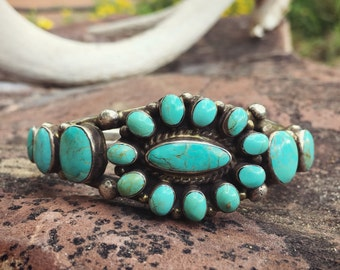 Vintage Turquoise Bracelet for Women w/ Small Wrist, Signed Navajo Turquoise Cluster Cuff