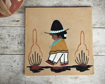 Navajo Sand Painting Little Child Walking, Southwestern Wall Decor, Native Americans Art