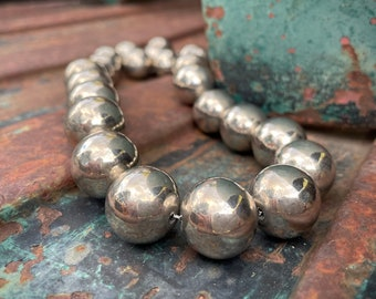"""Chunky German Silver Bead Choker Necklace 20"""", Southwestern Jewelry Navajo Pearls Style Mexican"""