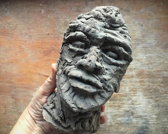 Head of a Man Art Pottery Sculpture Brutalist Mid Century Modern Style, Modernist Decor