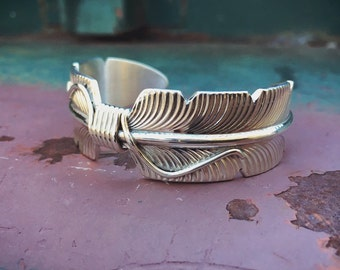 Sterling Silver Feather Cuff Bracelet for Women with Small Wrist, Native American Indian Jewelry, Anniversary Gift for Wife, Feather Jewelry