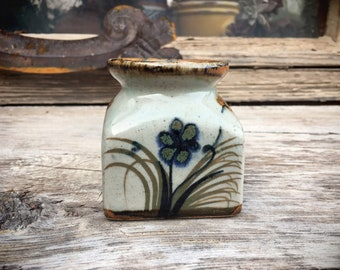 Very Small Mexican Pottery Inkwell Style Vase with Flower and Butterfly Design by Xochiquetzal