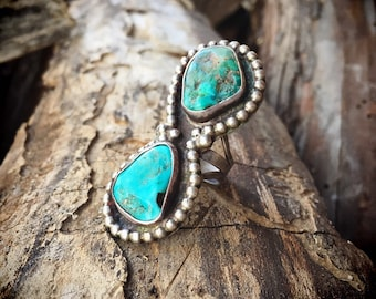 Old Pawn Long Turquoise Ring for Women Size 6.5 Navajo Native American Ring, Vintage Turquoise Jewelry