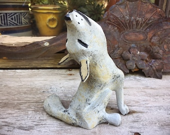 Folk Art Howling Coyote Painted Wood Carving by Joe Ortega, New Mexico Folk Art, Wolf Lover, Men's Gifts, Wooden Coyote Statue, Howl at Moon