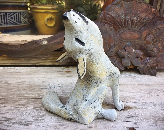 Featured listing image: Folk Art Howling Coyote Painted Wood Carving by Joe Ortega, New Mexico Folk Art, Wolf Lover, Men's Gifts, Wooden Coyote Statue, Howl at Moon