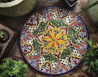 "14"" Diameter Talavera Plate Wall Hanging, Mexican Pottery, Rustic Decor, Mexican Folk Art, Boho Decor, Mexican Decor, Ceramic Plate"