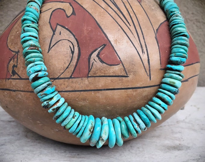 Featured listing image: Chunky Turquoise Bead Disc Nugget Necklace for Women, Native American Indian Jewelry