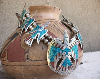1970s Sterling Silver Squashblossom Necklace with Crushed Turquoise Coral Peyote Bird