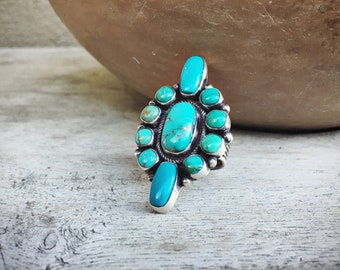 Large Navajo Cluster Turquoise Ring for Women Size 7.25 Native American Indian Jewelry