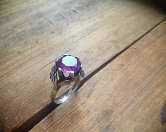 Vintage Mexican Silver Ring Amethyst or Manmade Alexandrite Gemstone, Cocktail Ring for Women