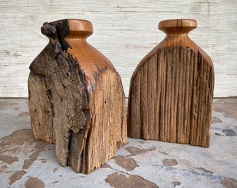 Pair of Midcentury Burl Wood Sculptures, Set of Two, Natural Organic Home, Table Centerpiece