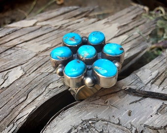 Navajo Michael & Rose Calladitto Turquoise Cluster Ring with Stamped Band, Native American Jewelry